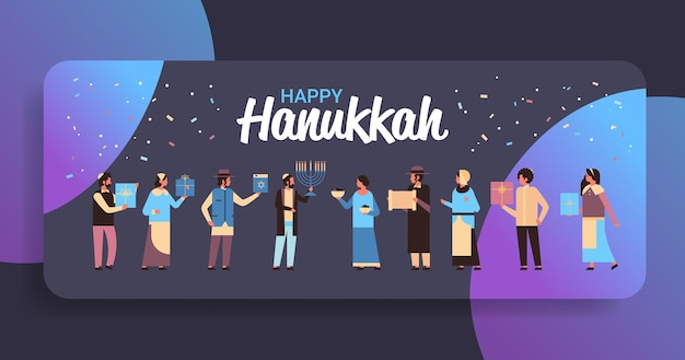 Happy hanukkah greeting card with illustration