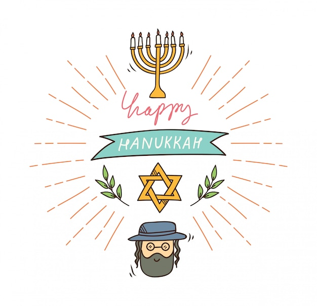 Happy hanukkah greeting in doodle style