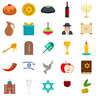 Happy hanukkah icon set
