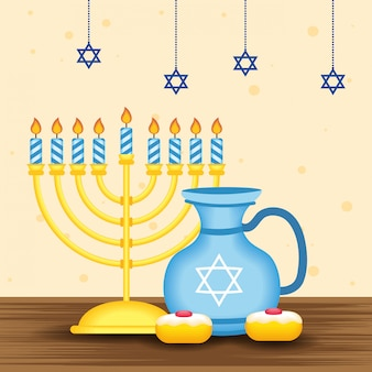 Happy hanukkah illustration with chandelier and teapot