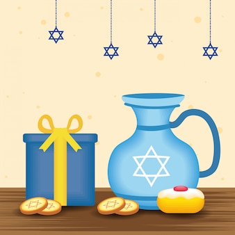 Happy hanukkah illustration with teapot and food sweet