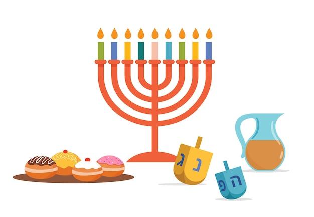 Happy hanukkah, jewish festival of lights background for greeting card, invitation, banner with jewish symbols as dreidel toys, doughnuts, menorah candle holder.