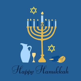 Happy hanukkah the jewish festival of lights menorah candle holder with lit candles and text