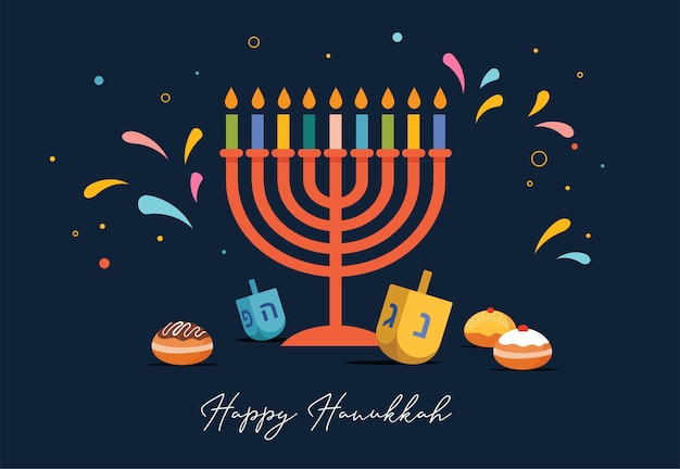 ハッピーハヌカ、グリーティングカード、招待状、ドレイドルのおもちゃ、ドーナツ、本枝の燭台のキャンドルホルダーとしてユダヤ人のシンボルが付いたバナーの背景のユダヤ人の光の祭典。