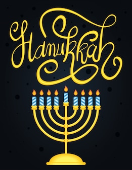 Happy hanukkah lettering with chandelier