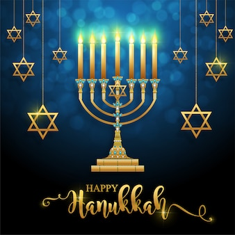 Happy hanukkah lettering with gold menorah and crystals on background.