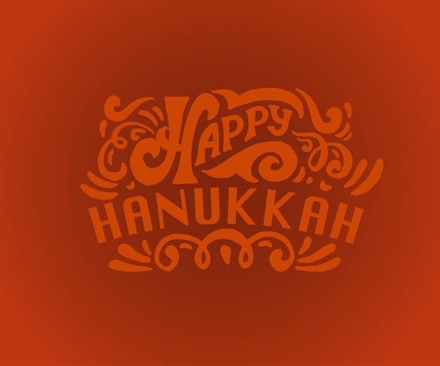 Happy hanukkah logotype badge and icon typography vector collection of elements for hanukkah