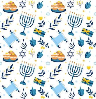 幸せなハヌカのシームレスなパターン。ハヌカのユダヤ教の祝日、無限のパターン