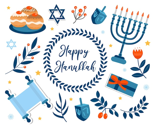 Happy hanukkah set. collection for the jewish holiday
