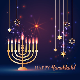 Happy hanukkah shining background with menorah, david star and bokeh effect.