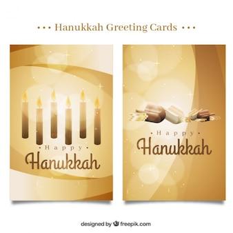 Happy hanukkah with fantastic golden cards