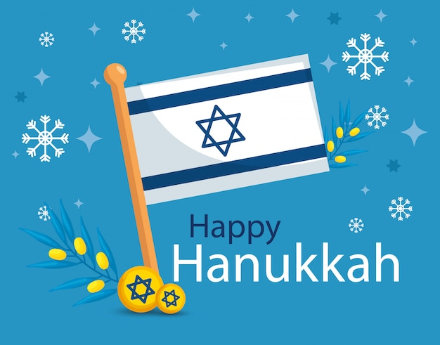 Happy hanukkah with flag israel