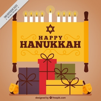 Happy hanukkah with gifts and candles in flat design
