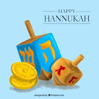 Happy hanukkah with spinning tops and coins