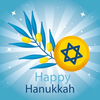 Happy hanukkah with star david and olive branch