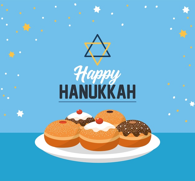 Happy hanukkah with sweet breads and david star