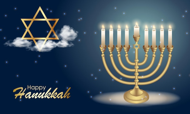 Happy hanukkah with symbols and golden style on colored background for hanukkah day