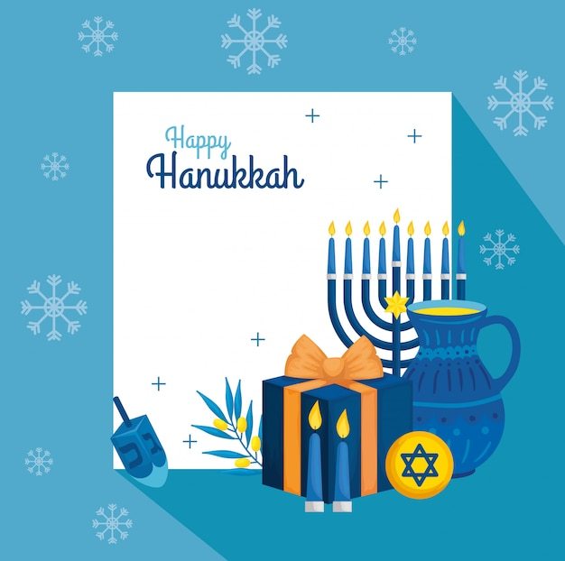 Happy hanukkah with teapot and decoration