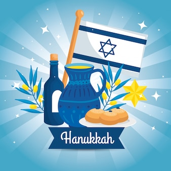 Happy hanukkah with teapot and set decoration