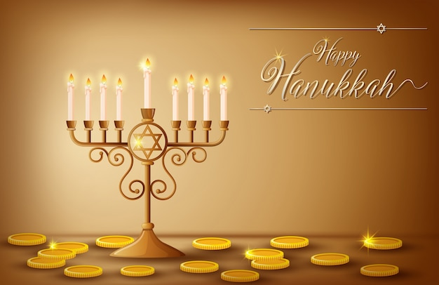 Happy hanukkahカードテンプレート、コインとライト