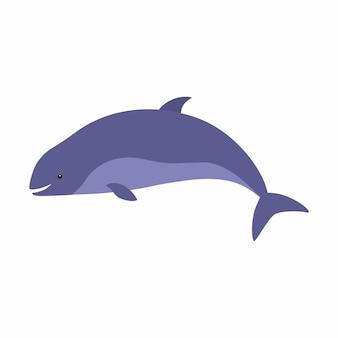 해피 하버 돌고래 만화. 벡터 일러스트 레이 션 흰색 배경에 고립입니다.