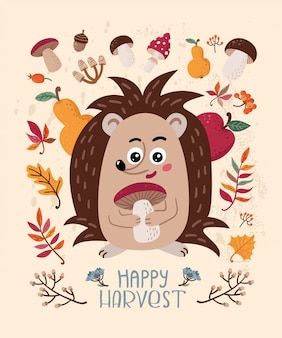 Happy harvest. autumn card with hedgehog and leaves