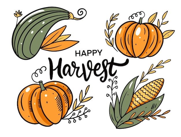 Happy harvest autumn holiday cartoon style