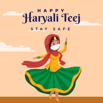 Happy haryali teej stay safe banner design template