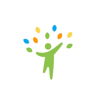 Happy Health People with Leaves Logo