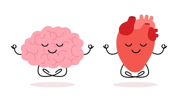 幸せな健康な脳と心臓のキャラクター瞑想ヨガ脳と心臓は蓮に座り落ち着く