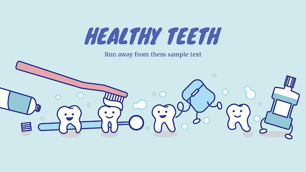 Happy healthy teeth and dental care equipment