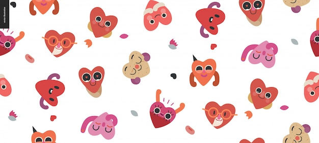 Happy hearts seamless pattern  valentine