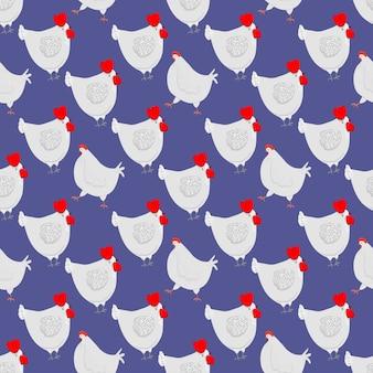 Счастливый курица мультипликационный персонаж в разных позах Premium векторы