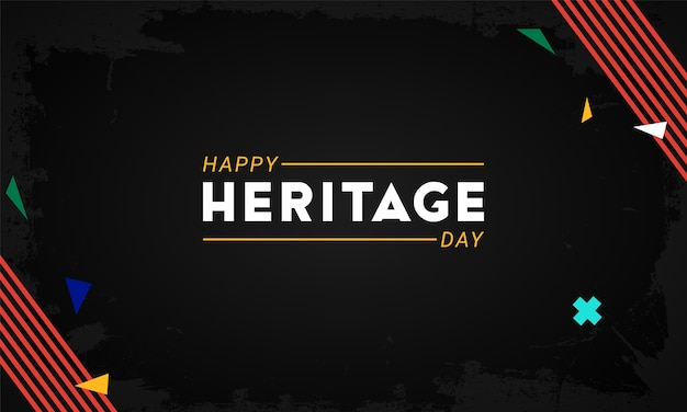ハッピーヘリテージデー-9月24日-南アフリカの国旗が入った水平型バナーテンプレートは、暗い背景の装飾的な要素を色分けします。アフリカの文化、信念、伝統を称える