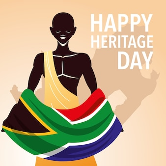 Happy heritage day, africans celebrate their culture and the diversity of their beliefs and traditions illustration