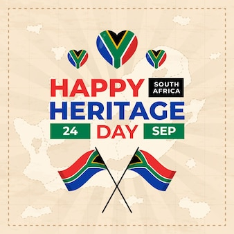 Happy heritage day with flag and hearts