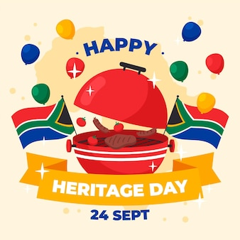 Happy heritage day with grill and balloons