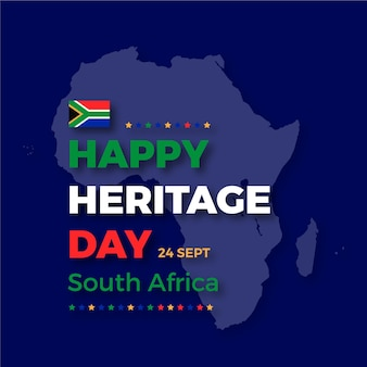 Happy heritage day with map of africa