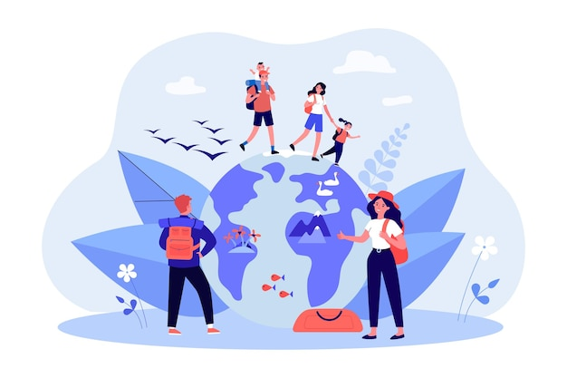 Happy hiking family walking on globe. father, mother and children on trip, female backpacker hitchhiking flat vector illustration. camping, nature, adventure concept for banner or landing web page
