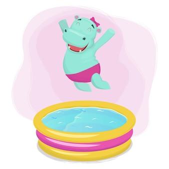 Waterpool에 점프 행복 하마 소녀.