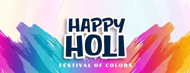 Happy holi abstract colors strokes background