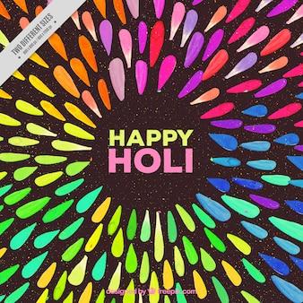 Sfondo holi felice con forme astratte acquerello