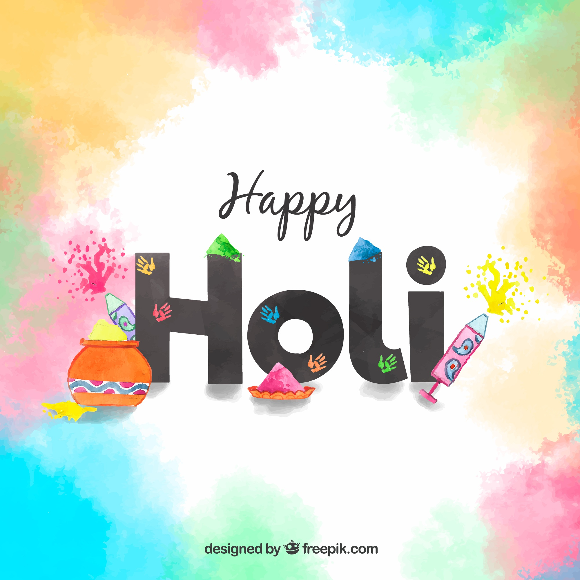 Happy holi background with lettering
