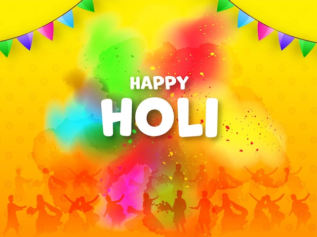 Happy holi celebration background with silhouette people playing colors.