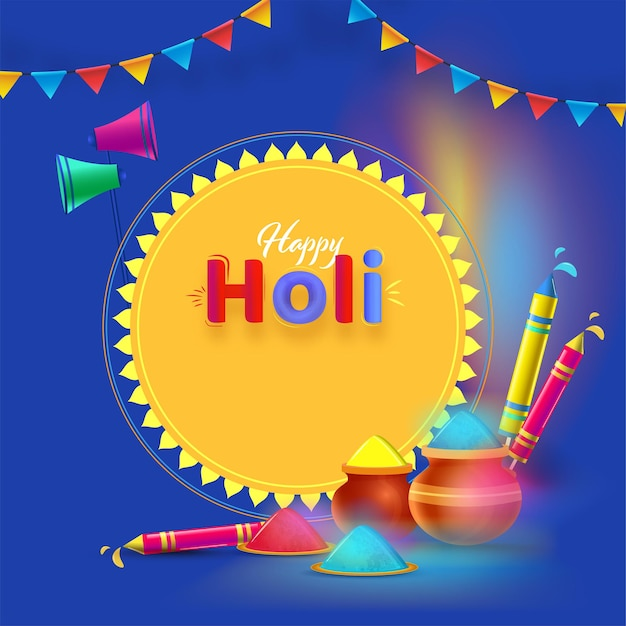 Happy holi celebration concept with color powder in mud pots