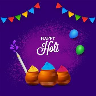 Happy holi celebration concept with mud pots full of powder (gulal)