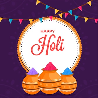 Happy holi celebration concept with powder (gulal) in mud pots