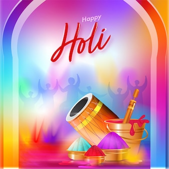 Happy holi celebration gradient background with glossy dhol, water gun, bowls and bucket full of colors.