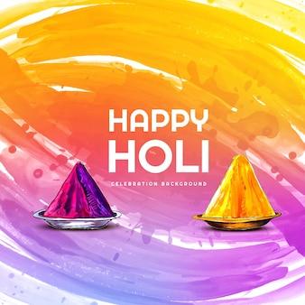 Happy holi celebration wishing card design