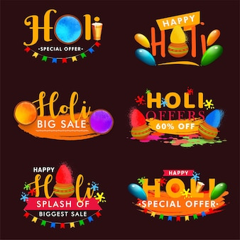 Happy holi colorful badges set for sale